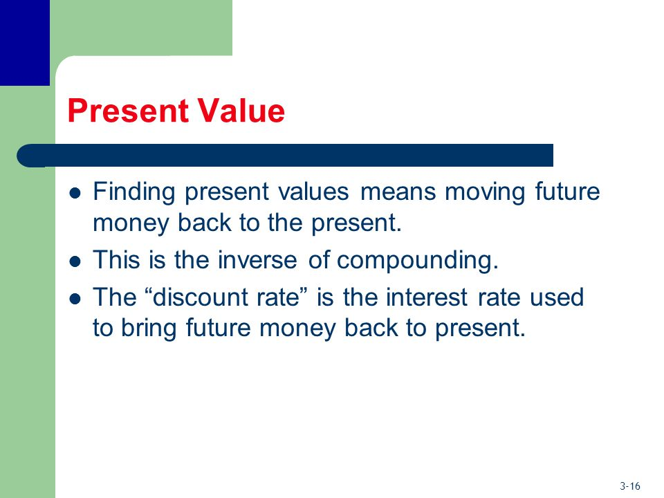 3-16 Present Value Finding present values means moving future money back to the present.