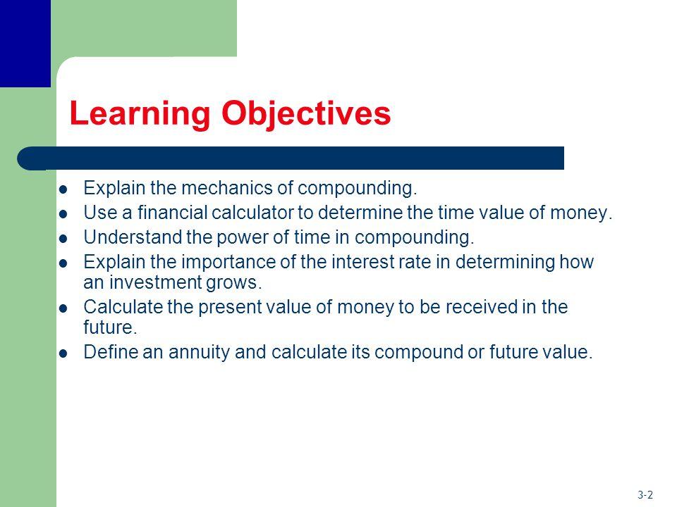 3-2 Learning Objectives Explain the mechanics of compounding.