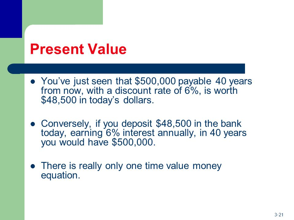 3-21 Present Value You've just seen that $500,000 payable 40 years from now, with a discount rate of 6%, is worth $48,500 in today's dollars.