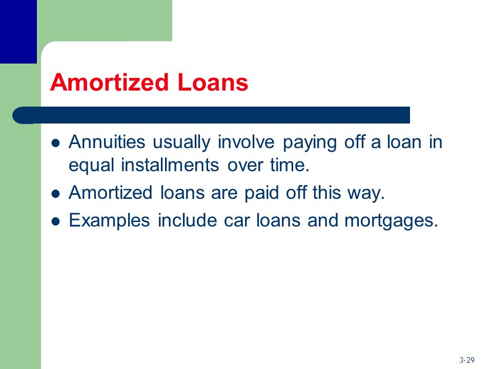 3-29 Amortized Loans Annuities usually involve paying off a loan in equal installments over time.