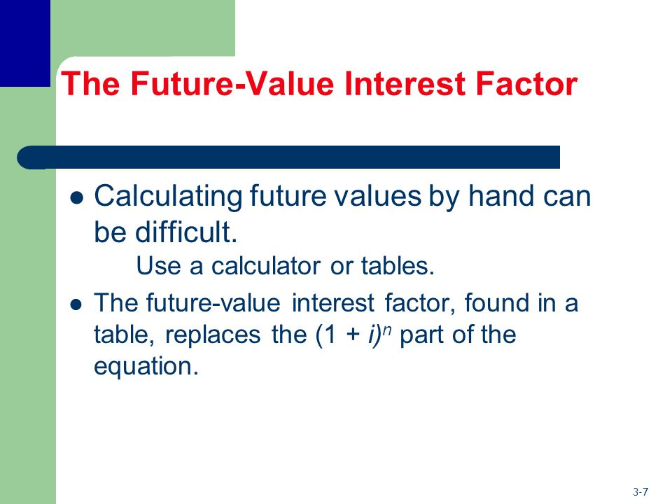 3-7 The Future-Value Interest Factor Calculating future values by hand can be difficult.
