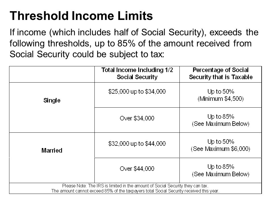 Threshold Income Limits If income (which includes half of Social Security), exceeds the following thresholds, up to 85% of the amount received from Social Security could be subject to tax: