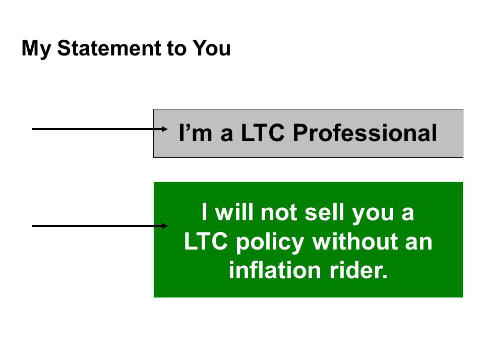My Statement to You I'm a LTC Professional I will not sell you a LTC policy without an inflation rider.