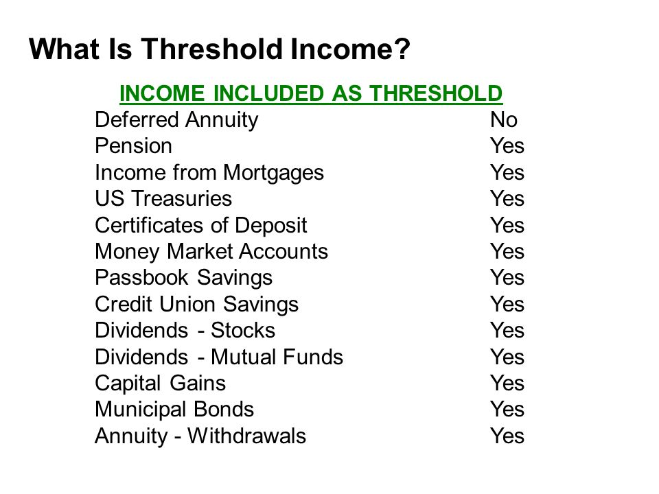 What Is Threshold Income.