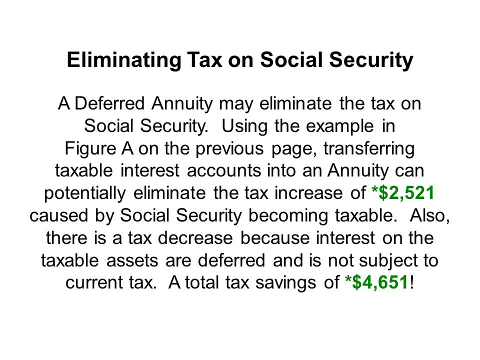 Eliminating Tax on Social Security A Deferred Annuity may eliminate the tax on Social Security.