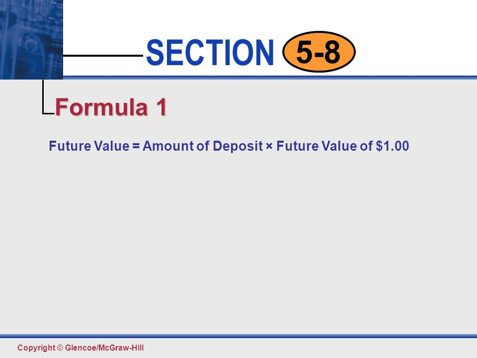 Click to edit Master text styles Second level Third level Fourth level Fifth level 6 SECTION Copyright © Glencoe/McGraw-Hill 5-8 Future Value =Future Value of × ($1.00 + Rate of an Annuity DueOrdinary Annuity per Period) Formula 2