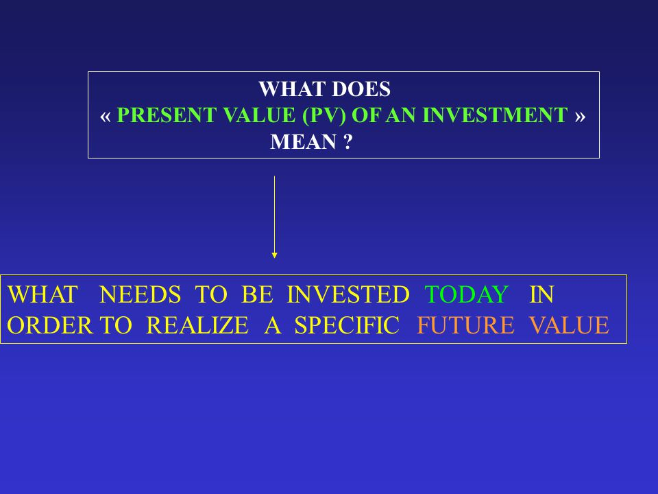 WHAT DOES « PRESENT VALUE (PV) OF AN INVESTMENT » MEAN .