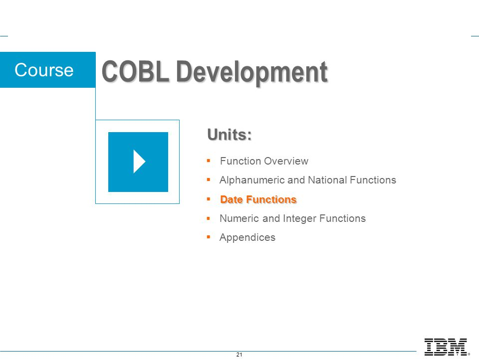 21 Course  Function Overview  Alphanumeric and National Functions Date Functions  Date Functions  Numeric and Integer Functions  Appendices Units: COBL Development