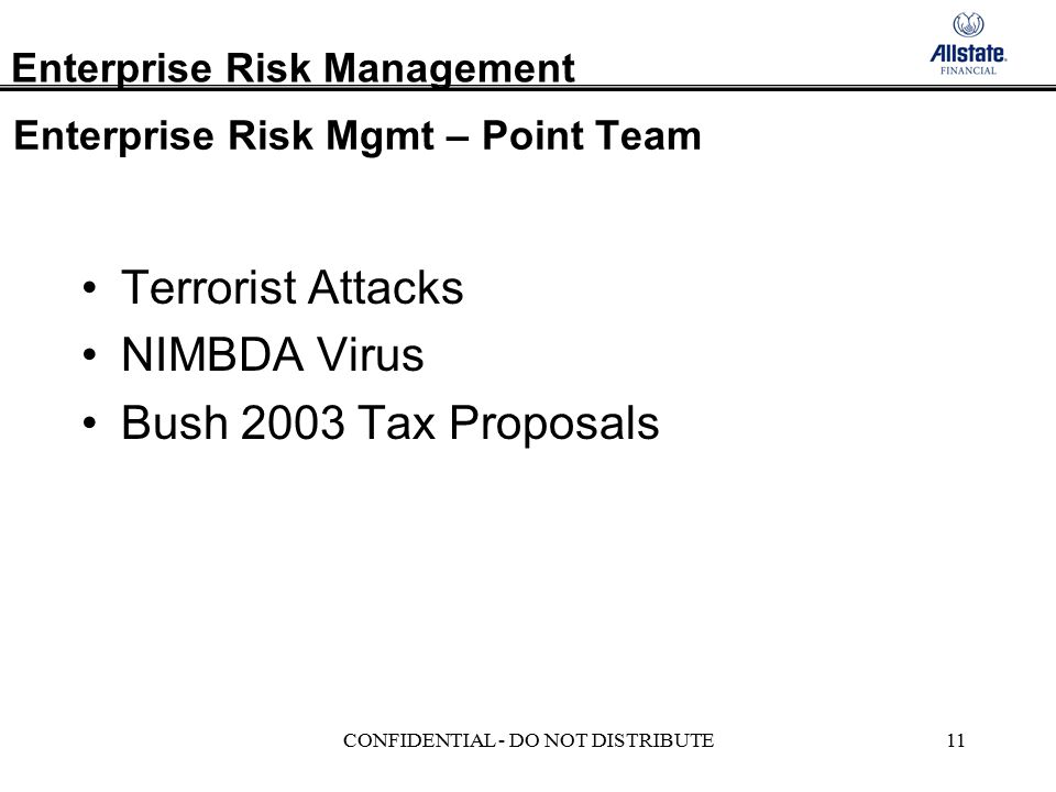 Enterprise Risk Management CONFIDENTIAL - DO NOT DISTRIBUTE11 Enterprise Risk Mgmt – Point Team Terrorist Attacks NIMBDA Virus Bush 2003 Tax Proposals