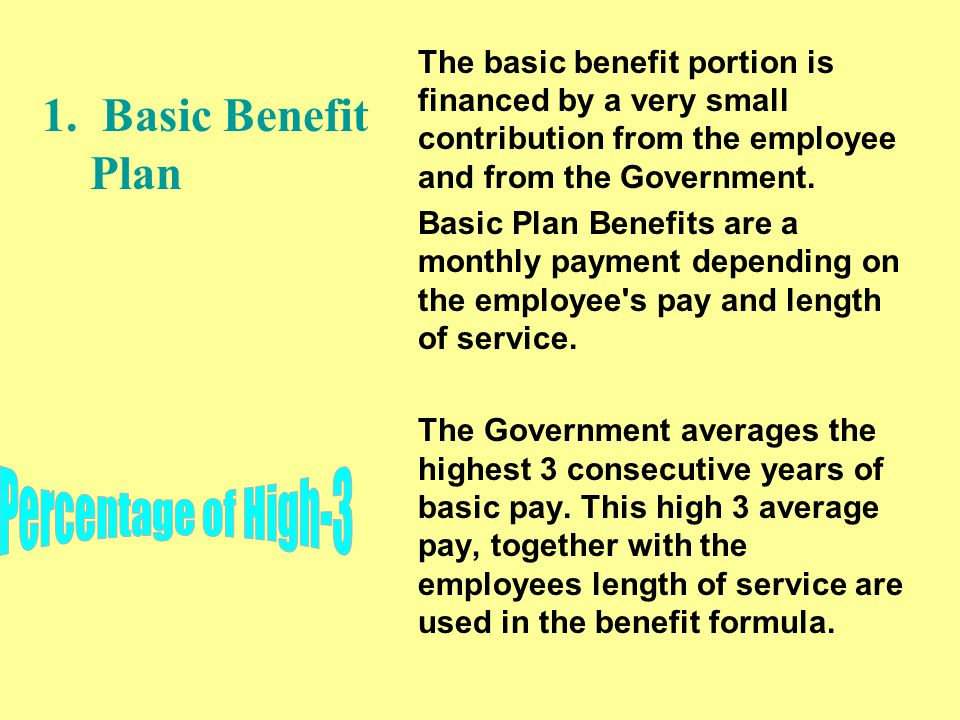 The basic benefit portion is financed by a very small contribution from the employee and from the Government.