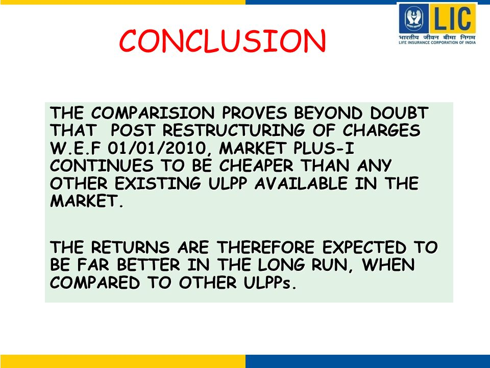 CONCLUSION THE COMPARISION PROVES BEYOND DOUBT THAT POST RESTRUCTURING OF CHARGES W.E.F 01/01/2010, MARKET PLUS-I CONTINUES TO BE CHEAPER THAN ANY OTHER EXISTING ULPP AVAILABLE IN THE MARKET.