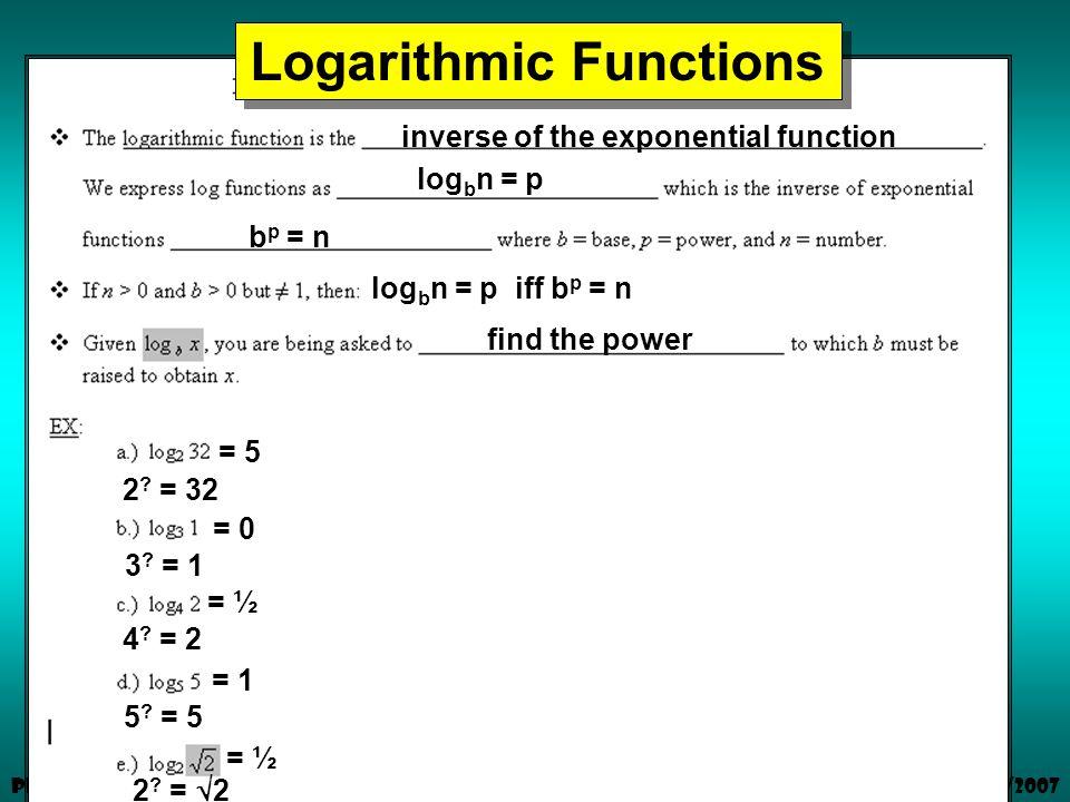 1/3/2007 Pre-Calculus Logarithmic Functions inverse of the exponential function log b n = p b p = n log b n = p iff b p = n find the power 2 .