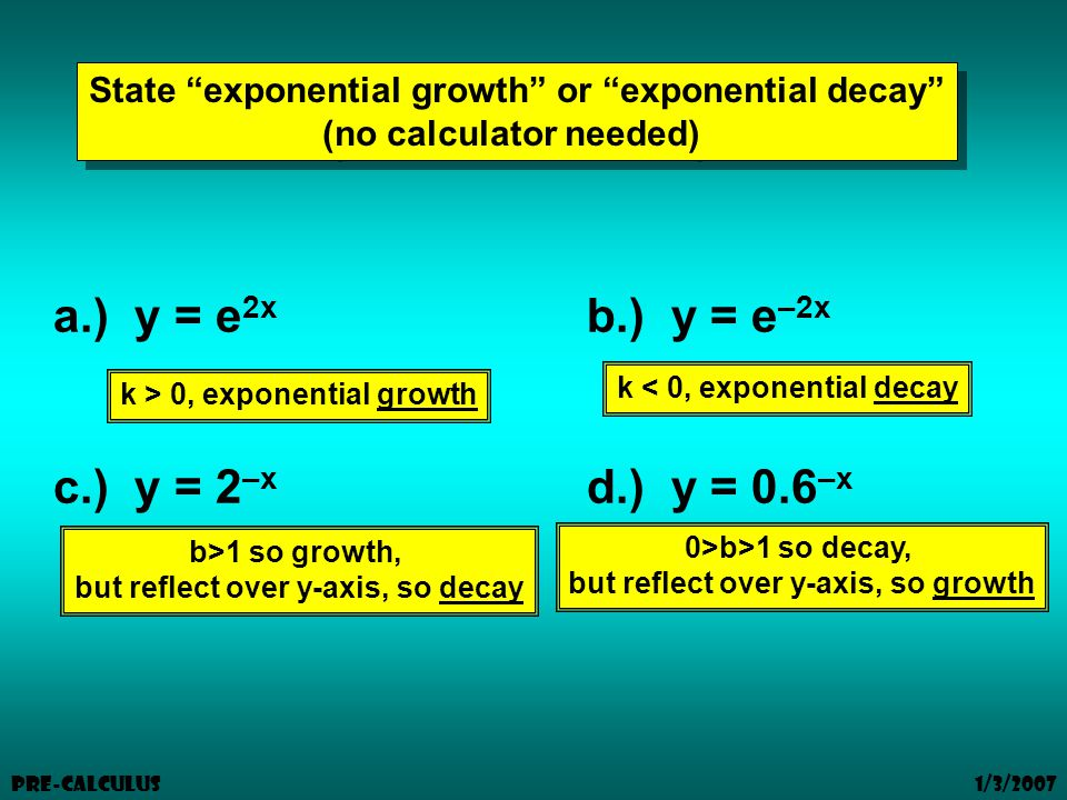 1/3/2007 Pre-Calculus State exponential growth or exponential decay (no calculator needed) State exponential growth or exponential decay (no calculator needed) a.) y = e 2x b.) y = e –2x c.) y = 2 –x d.) y = 0.6 –x k > 0, exponential growth k < 0, exponential decay b>1 so growth, but reflect over y-axis, so decay 0>b>1 so decay, but reflect over y-axis, so growth