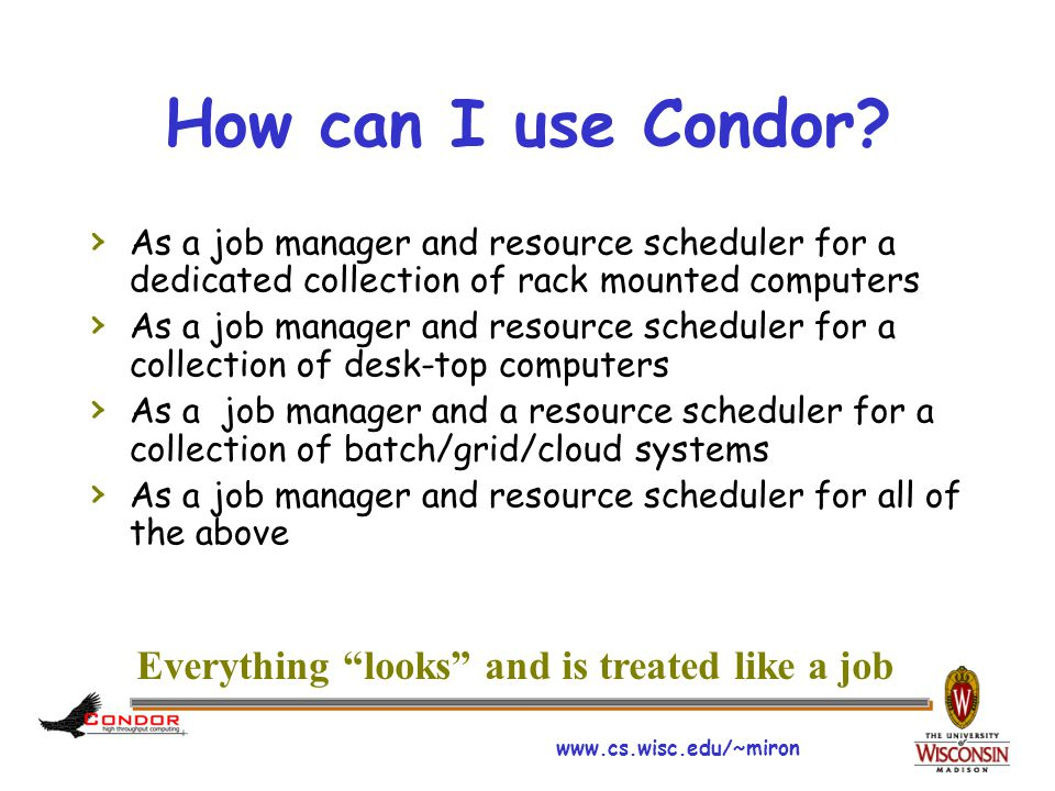 www.cs.wisc.edu/~miron Condor Building Blocks (2) A community (group/user) Job Manager (the SchedD)  Accepts delegation of jobs through published interfaces Delegation is persistent and rule driven  Can manage jobs for different groups or users Very large numbers of jobs Job attributes can be defined and edited by user Time dependent (e.g.