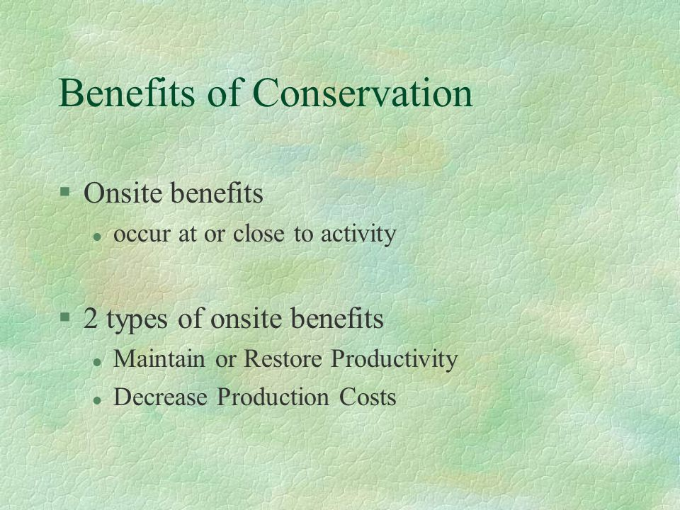 Benefits of Conservation §Onsite benefits l occur at or close to activity §2 types of onsite benefits l Maintain or Restore Productivity l Decrease Pr