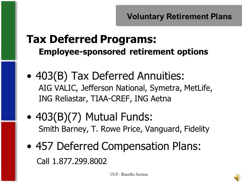 Retirement Retirement Resources: –UCF Benefits Section (407) 823-2771 http://hr.ucf.edu Provider Contacts Comparison Charts Enrollment Information/Forms –Florida Investment Plan (866) 446-9377 ( open 9am – 8pm, EST ) www.myfrs.com UCF - Benefits Section