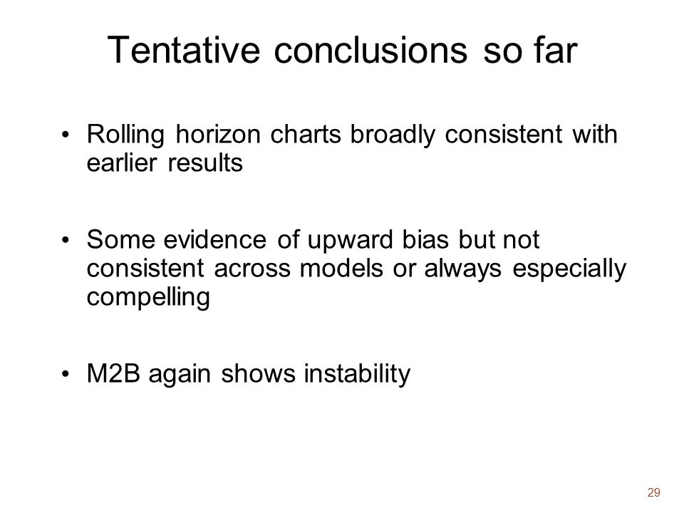 29 Tentative conclusions so far Rolling horizon charts broadly consistent with earlier results Some evidence of upward bias but not consistent across