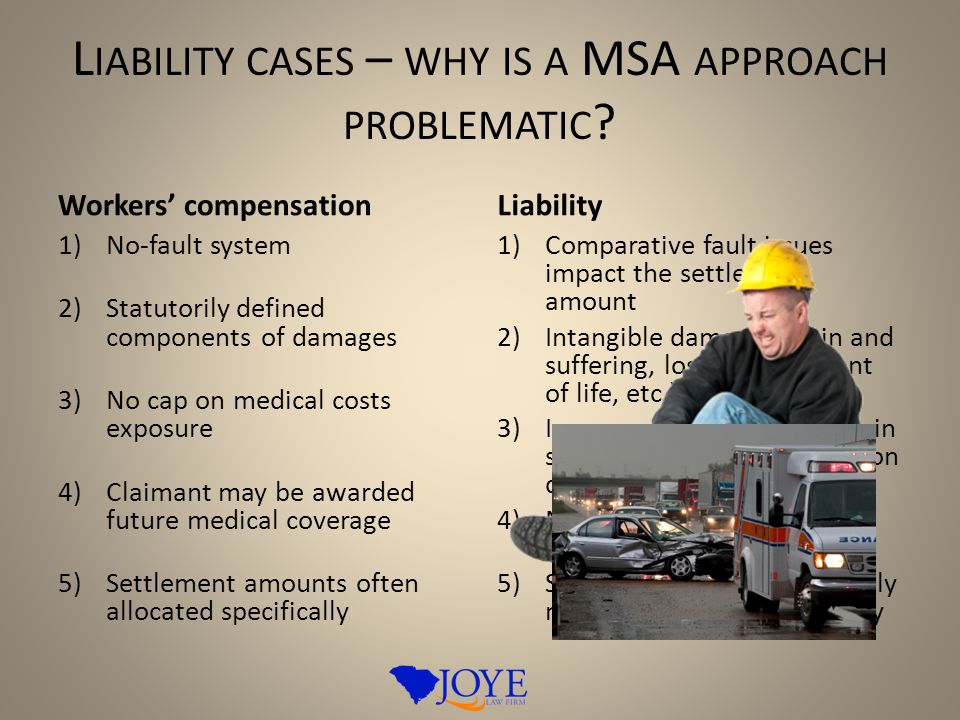L IABILITY CASES – WHY IS A MSA APPROACH PROBLEMATIC ? Workers' compensation 1)No-fault system 2)Statutorily defined components of damages 3)No cap on