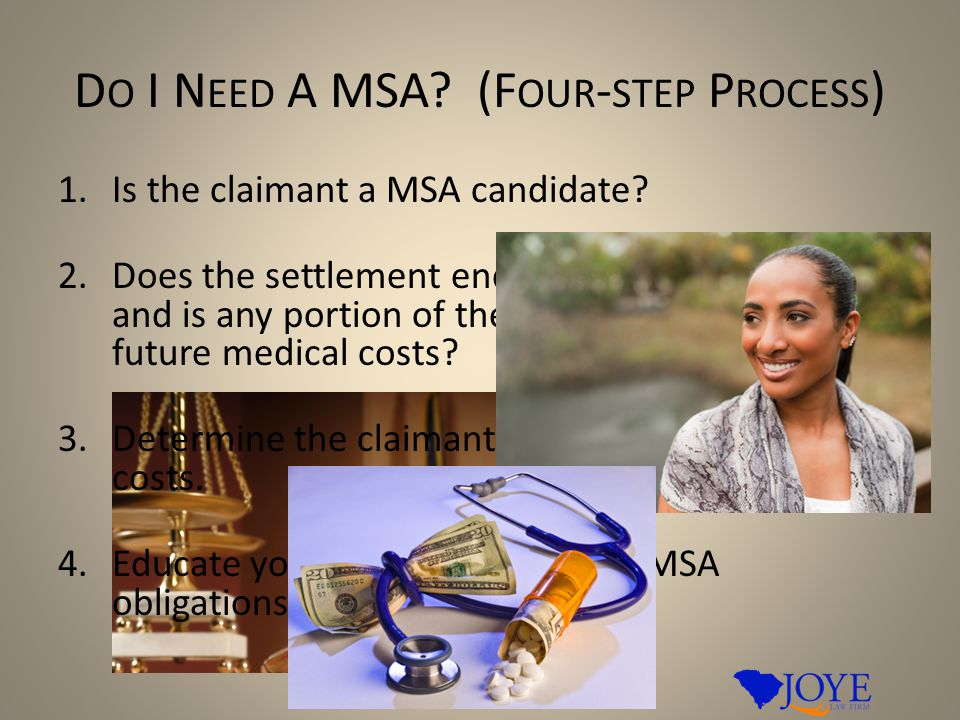 D O I N EED A MSA. (F OUR - STEP P ROCESS ) 1.Is the claimant a MSA candidate.
