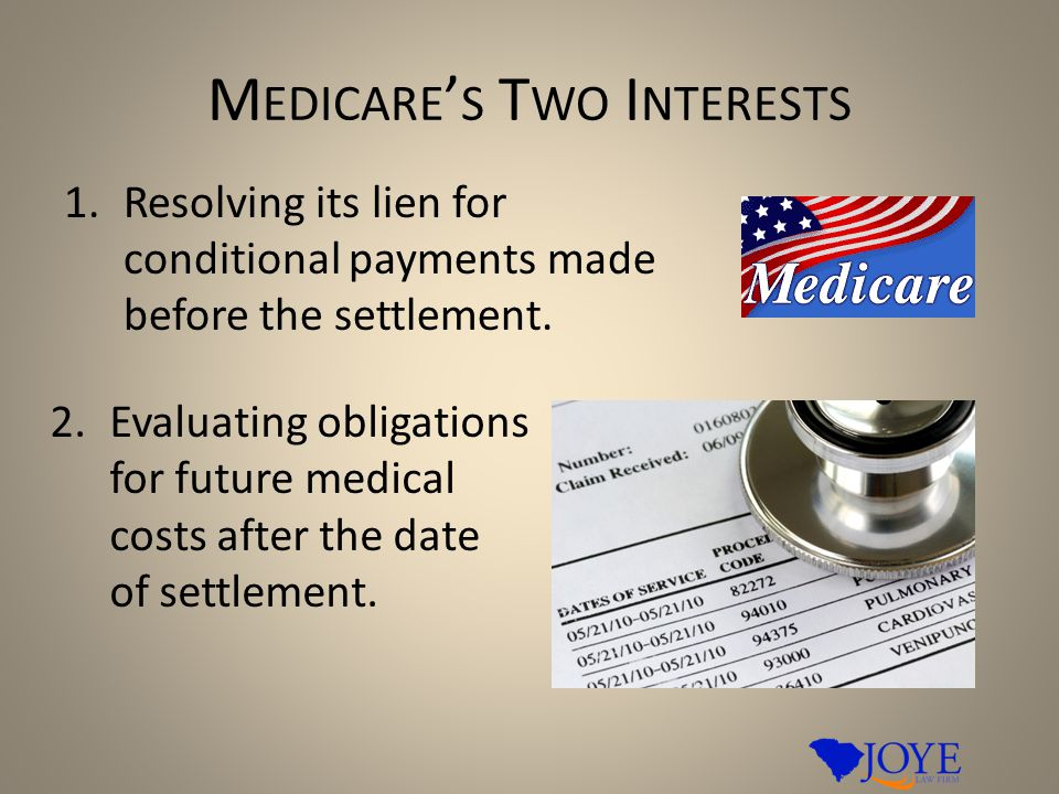 M EDICARE ' S T WO I NTERESTS 1.Resolving its lien for conditional payments made before the settlement. 2.Evaluating obligations for future medical co