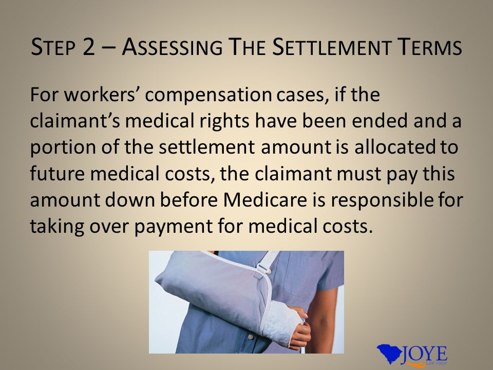 S TEP 2 – A SSESSING T HE S ETTLEMENT T ERMS For workers' compensation cases, if the claimant's medical rights have been ended and a portion of the settlement amount is allocated to future medical costs, the claimant must pay this amount down before Medicare is responsible for taking over payment for medical costs.