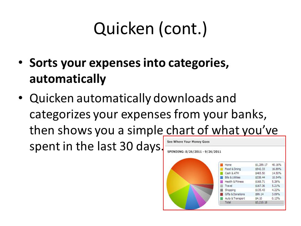 Quicken (cont.) Sorts your expenses into categories, automatically Quicken automatically downloads and categorizes your expenses from your banks, then