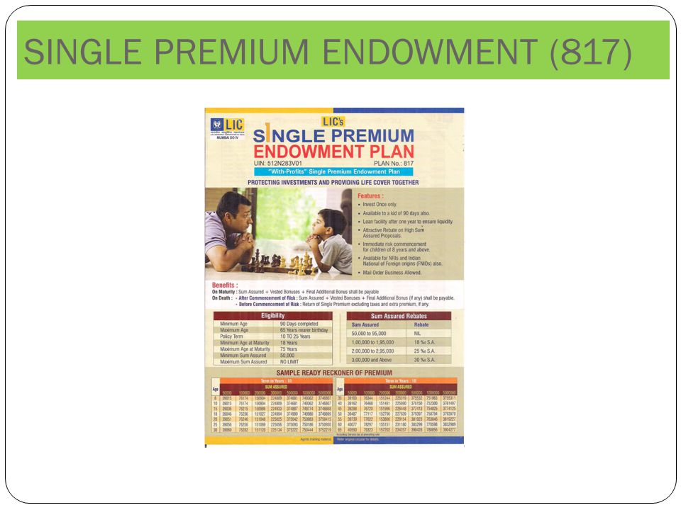 SINGLE PREMIUM ENDOWMENT (817)