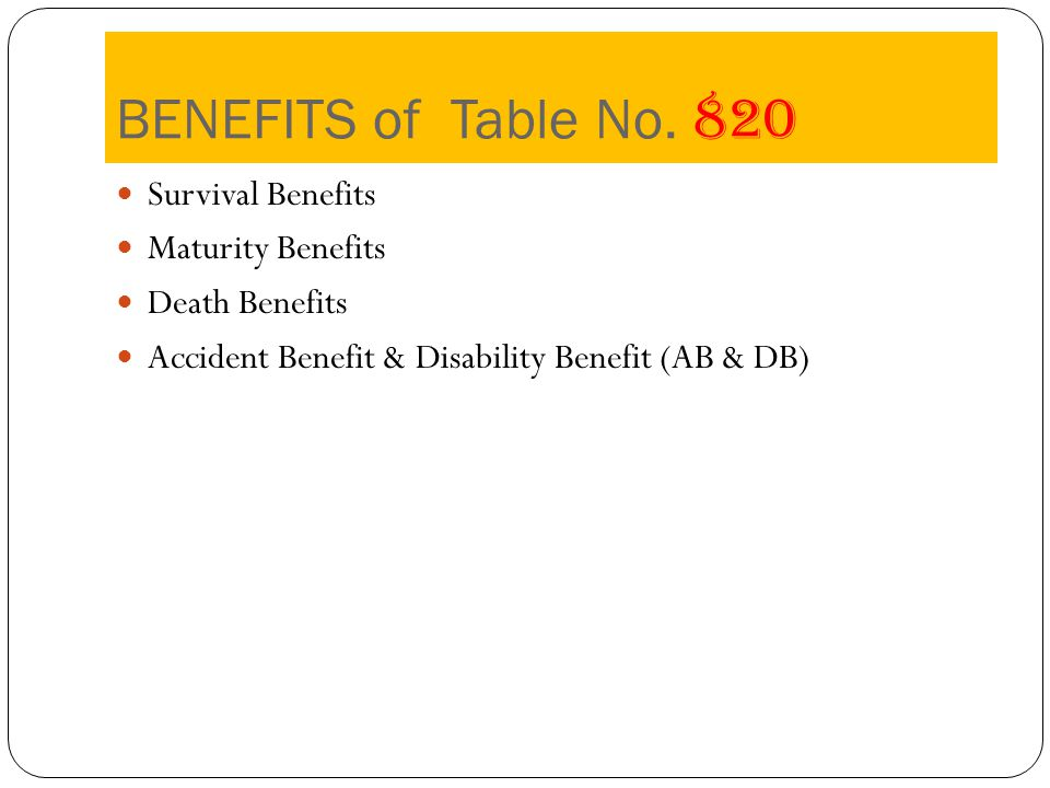 BENEFITS of Table No.