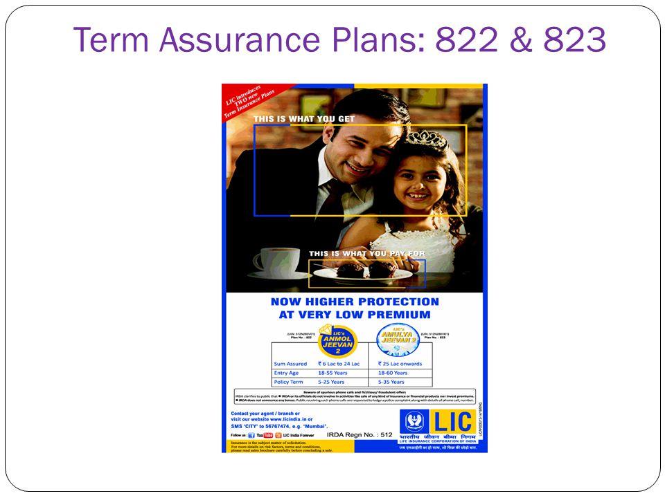 Term Assurance Plans: 822 & 823
