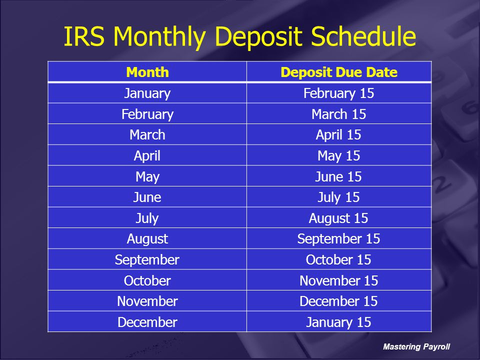 Mastering Payroll IRS Monthly Deposit Schedule MonthDeposit Due Date JanuaryFebruary 15 FebruaryMarch 15 MarchApril 15 AprilMay 15 MayJune 15 JuneJuly