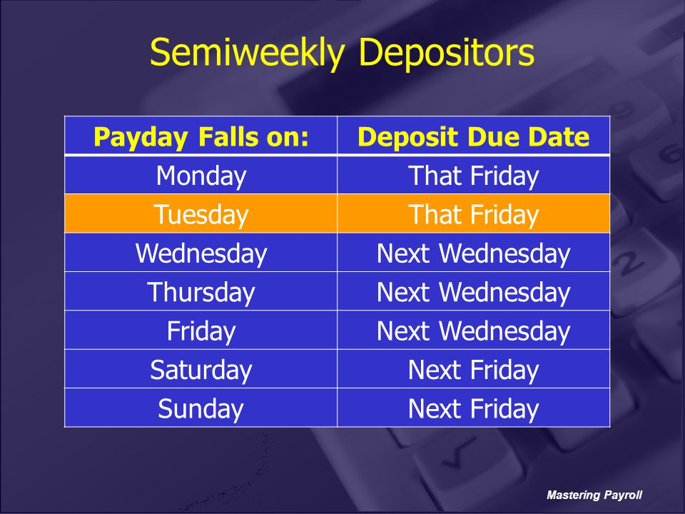 Mastering Payroll Semiweekly Depositors Payday Falls on:Deposit Due Date MondayThat Friday TuesdayThat Friday WednesdayNext Wednesday ThursdayNext Wed