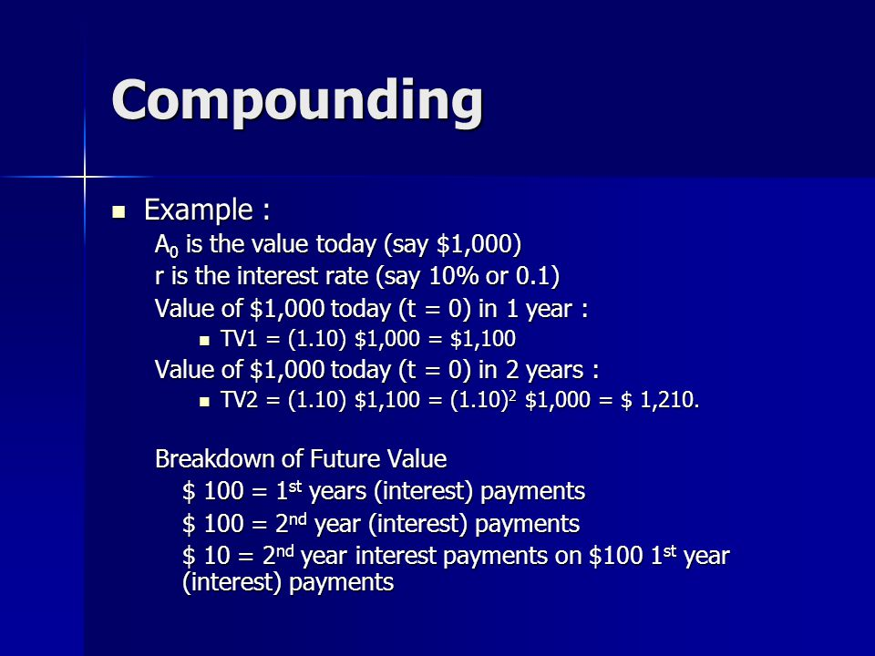 Compounding Example : Example : A 0 is the value today (say $1,000) r is the interest rate (say 10% or 0.1) Value of $1,000 today (t = 0) in 1 year :