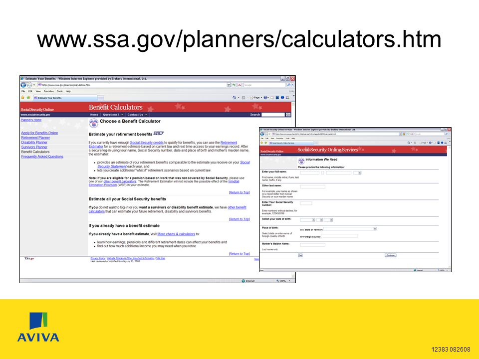 12383 082608 www.ssa.gov/planners/calculators.htm