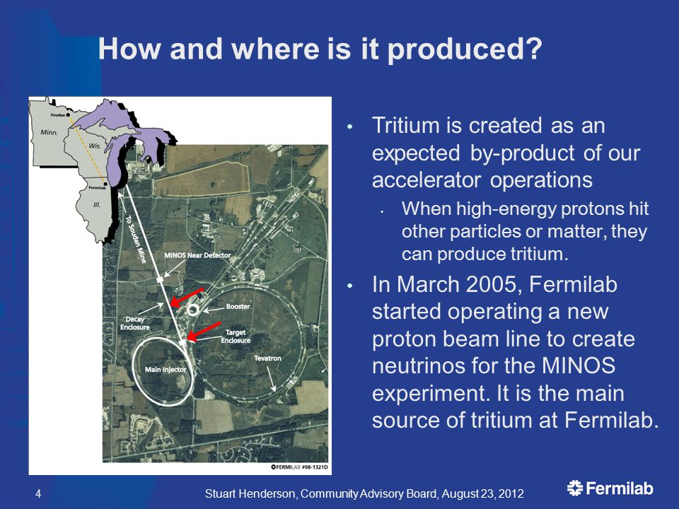 4 How and where is it produced? Tritium is created as an expected by-product of our accelerator operations When high-energy protons hit other particle