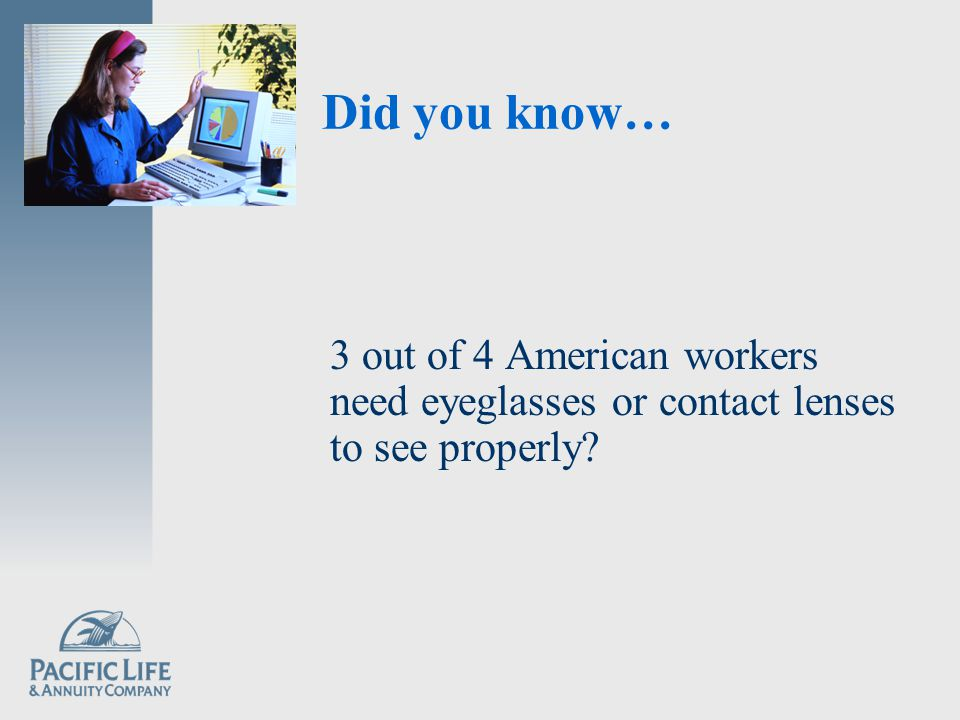 Did you know… 3 out of 4 American workers need eyeglasses or contact lenses to see properly