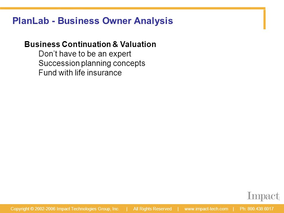 PlanLab - Business Owner Analysis Copyright © 2002-2006 Impact Technologies Group, Inc.