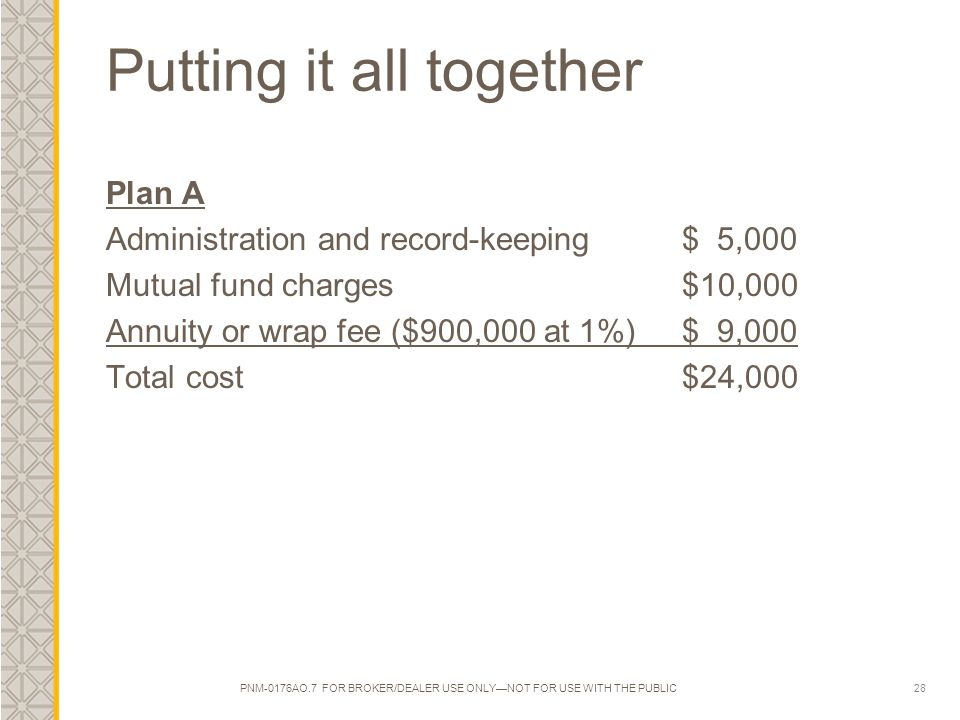 28 Putting it all together Plan A Administration and record-keeping $ 5,000 Mutual fund charges $10,000 Annuity or wrap fee ($900,000 at 1%) $ 9,000 Total cost$24,000 PNM-0176AO.7 FOR BROKER/DEALER USE ONLY—NOT FOR USE WITH THE PUBLIC