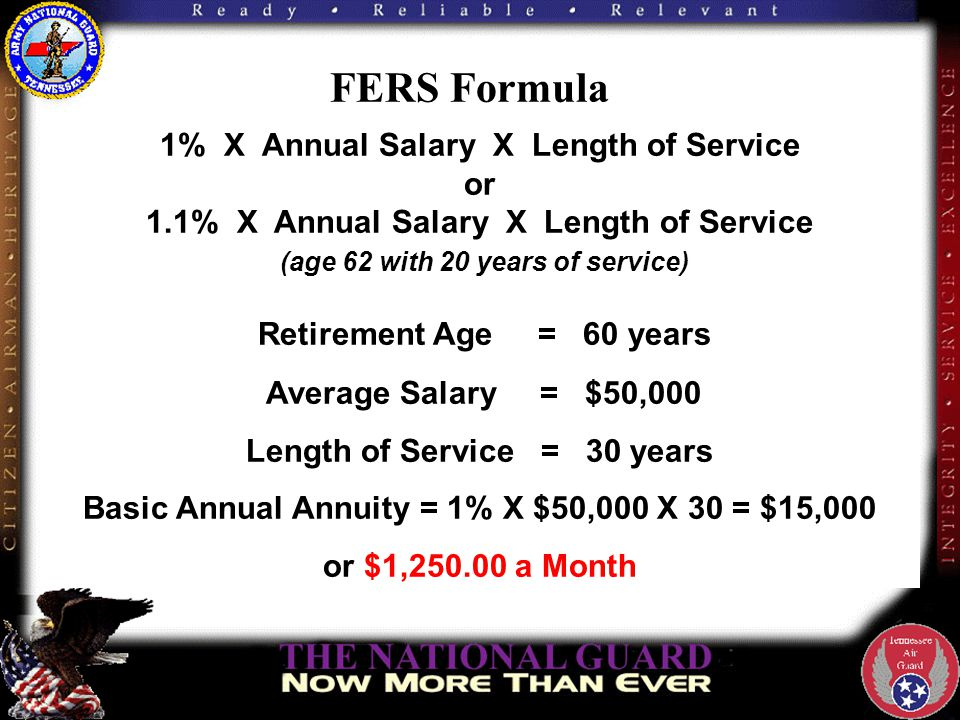 FERS Formula 1% X Annual Salary X Length of Service or 1.1% X Annual Salary X Length of Service (age 62 with 20 years of service) Retirement Age = 60 years Average Salary = $50,000 Length of Service = 30 years Basic Annual Annuity = 1% X $50,000 X 30 = $15,000 or $1,250.00 a Month