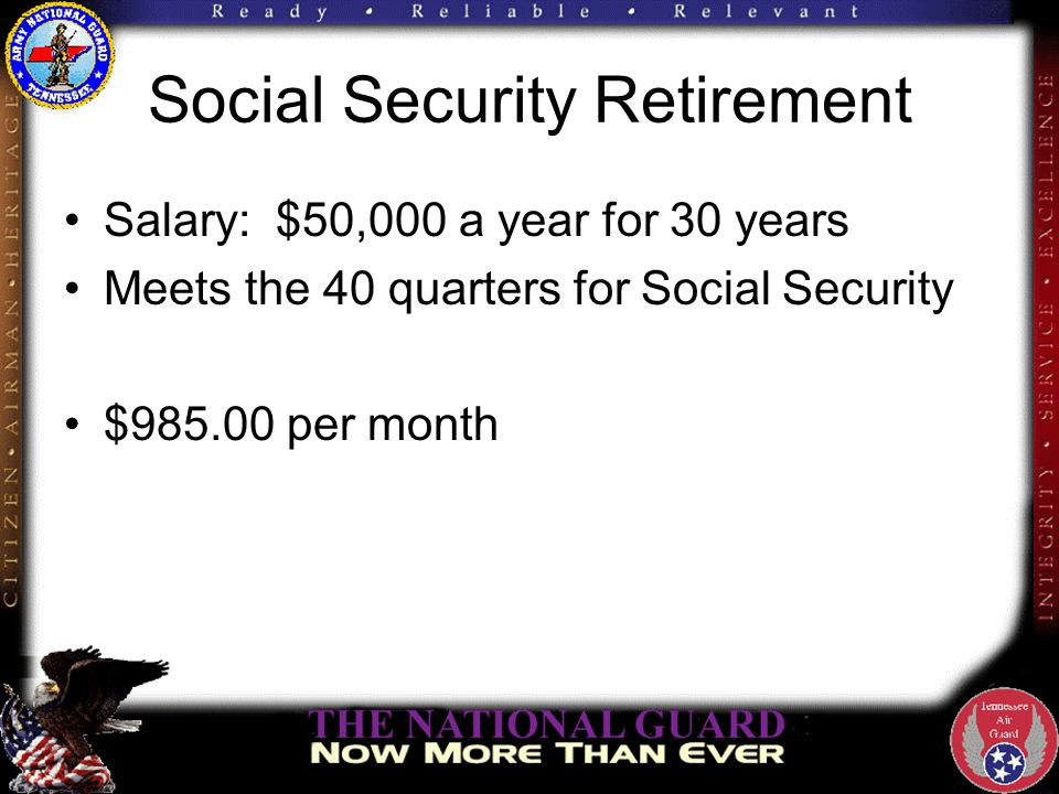 Social Security Retirement Salary:$50,000 a year for 30 years Meets the 40 quarters for Social Security $985.00 per month