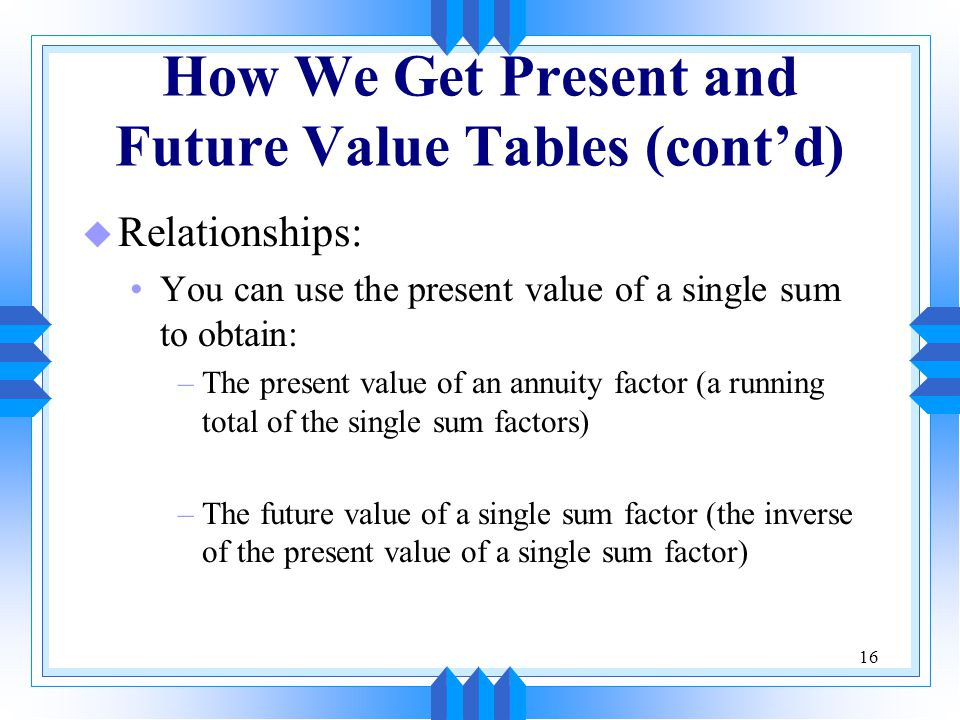 16 How We Get Present and Future Value Tables (cont'd) u Relationships: You can use the present value of a single sum to obtain: –The present value of an annuity factor (a running total of the single sum factors) –The future value of a single sum factor (the inverse of the present value of a single sum factor)