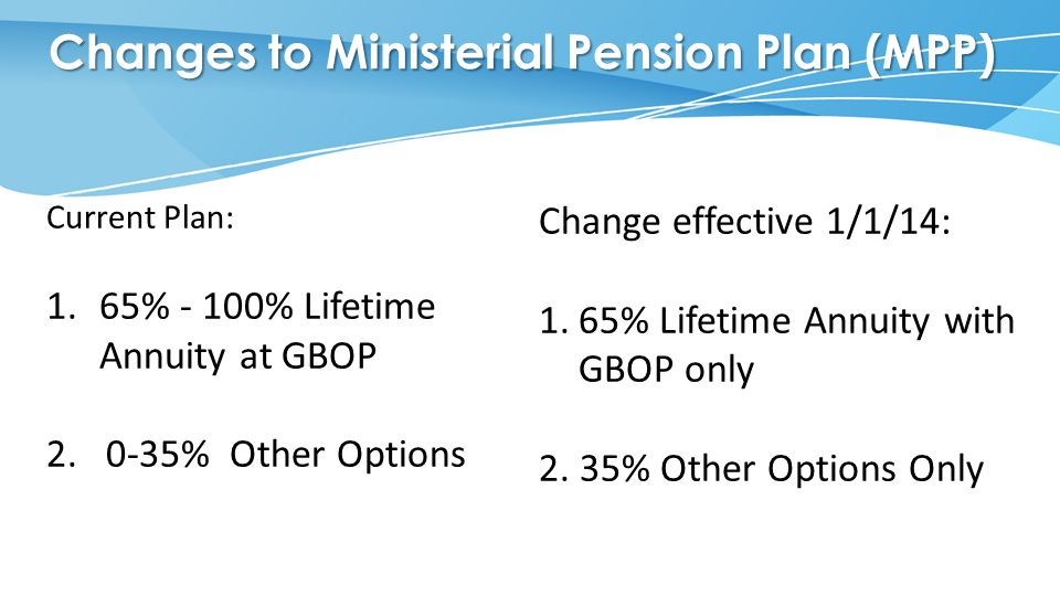 Changes to Ministerial Pension Plan (MPP) Current Plan: 1.65% - 100% Lifetime Annuity at GBOP 2.