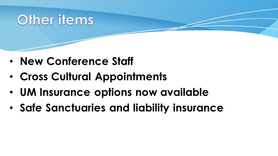 New Conference Staff Cross Cultural Appointments UM Insurance options now available Safe Sanctuaries and liability insurance