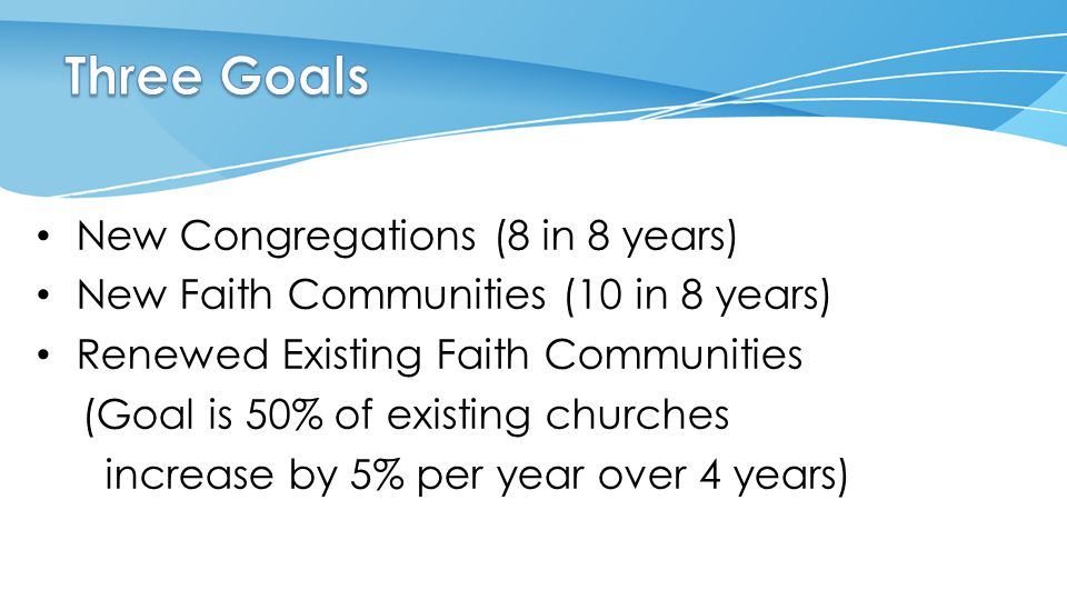 New Congregations (8 in 8 years) New Faith Communities (10 in 8 years) Renewed Existing Faith Communities (Goal is 50% of existing churches increase b