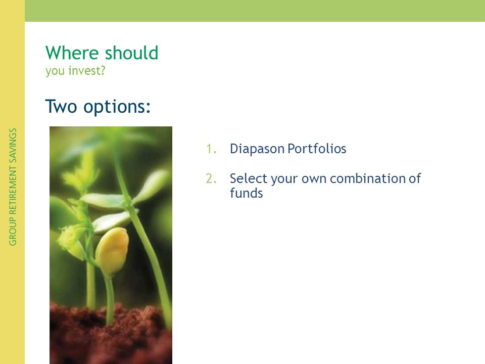 Two options: 1.Diapason Portfolios 2.Select your own combination of funds Where should you invest?