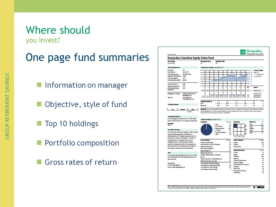 Where should you invest? One page fund summaries Information on manager Objective, style of fund Top 10 holdings Portfolio composition Gross rates of