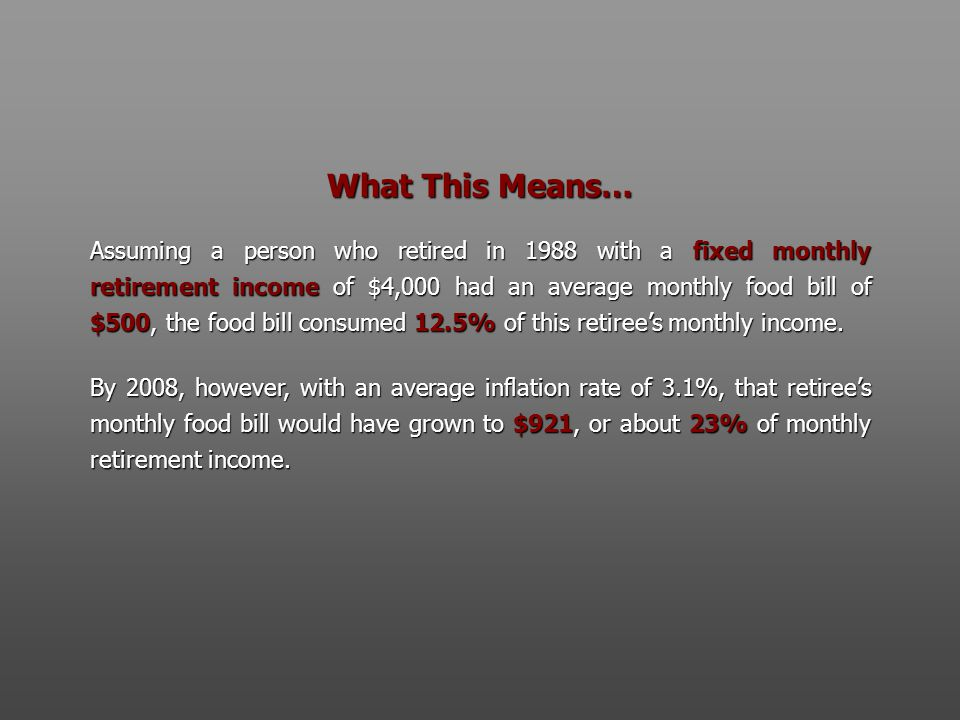 What This Means… Assuming a person who retired in 1988 with a fixed monthly retirement income of $4,000 had an average monthly food bill of $500, the food bill consumed 12.5% of this retiree's monthly income.