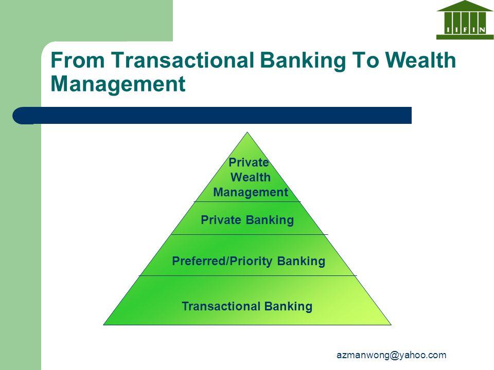 azmanwong@yahoo.com From Transactional Banking To Wealth Management Transactional Banking Preferred/Priority Banking Private Banking Private Wealth Ma