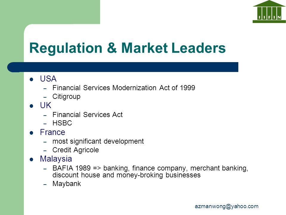 azmanwong@yahoo.com Regulation & Market Leaders USA – Financial Services Modernization Act of 1999 – Citigroup UK – Financial Services Act – HSBC Fran