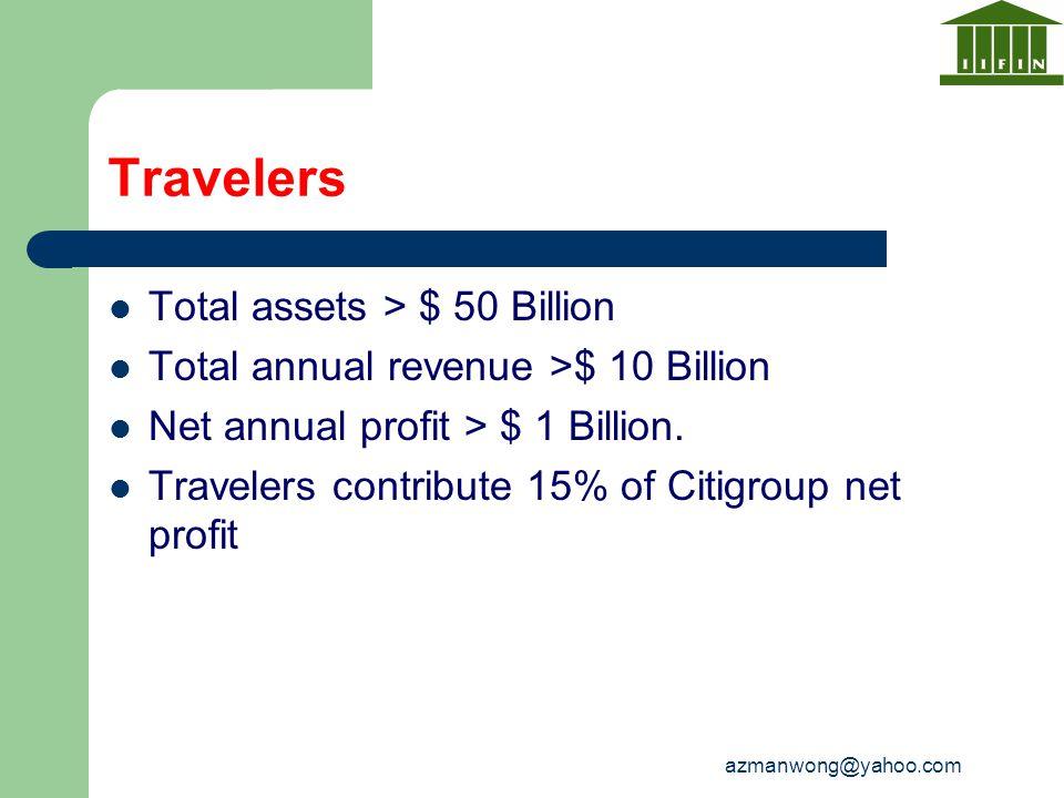 azmanwong@yahoo.com Travelers Total assets > $ 50 Billion Total annual revenue >$ 10 Billion Net annual profit > $ 1 Billion. Travelers contribute 15%