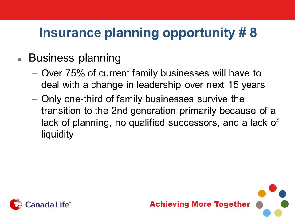 Achieving More Together Insurance planning opportunity # 8 Business planning –Over 75% of current family businesses will have to deal with a change in leadership over next 15 years –Only one-third of family businesses survive the transition to the 2nd generation primarily because of a lack of planning, no qualified successors, and a lack of liquidity